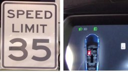 tesla car illustration and speed sign showing manipulated speed of 85 mph