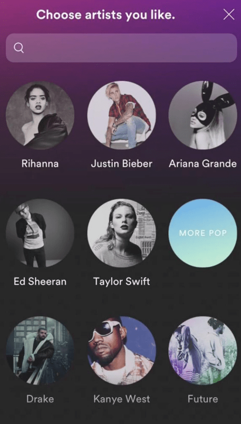 screenshot of spotify asking users to choose artists they like