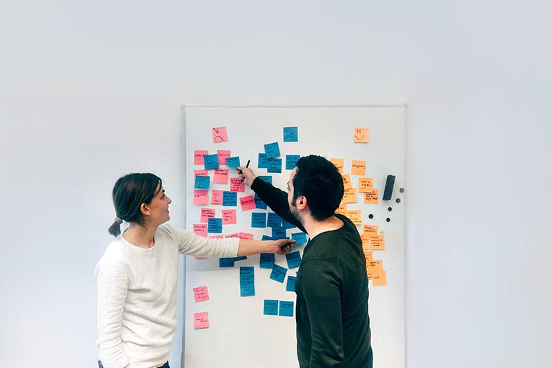 two people working on a customer journey map to improve human experience using a white board and sticky notes