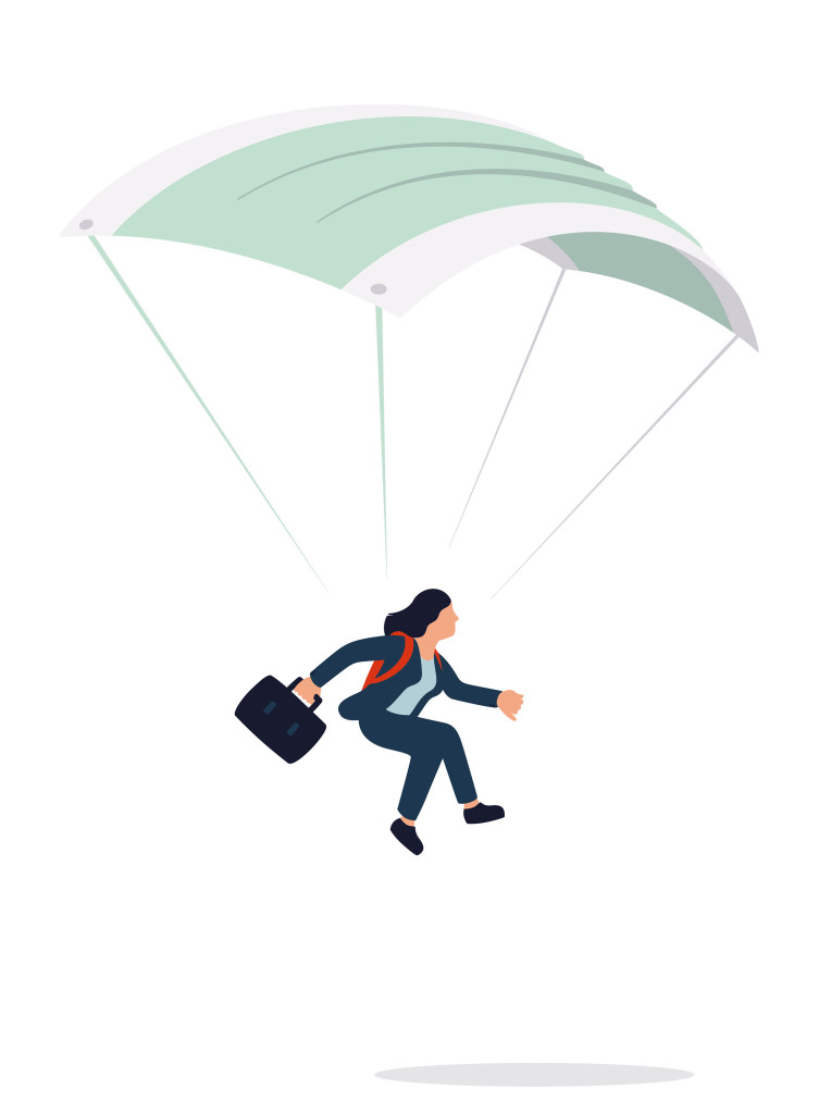 illustration of business woman holding suitcase landing on ground with parachute