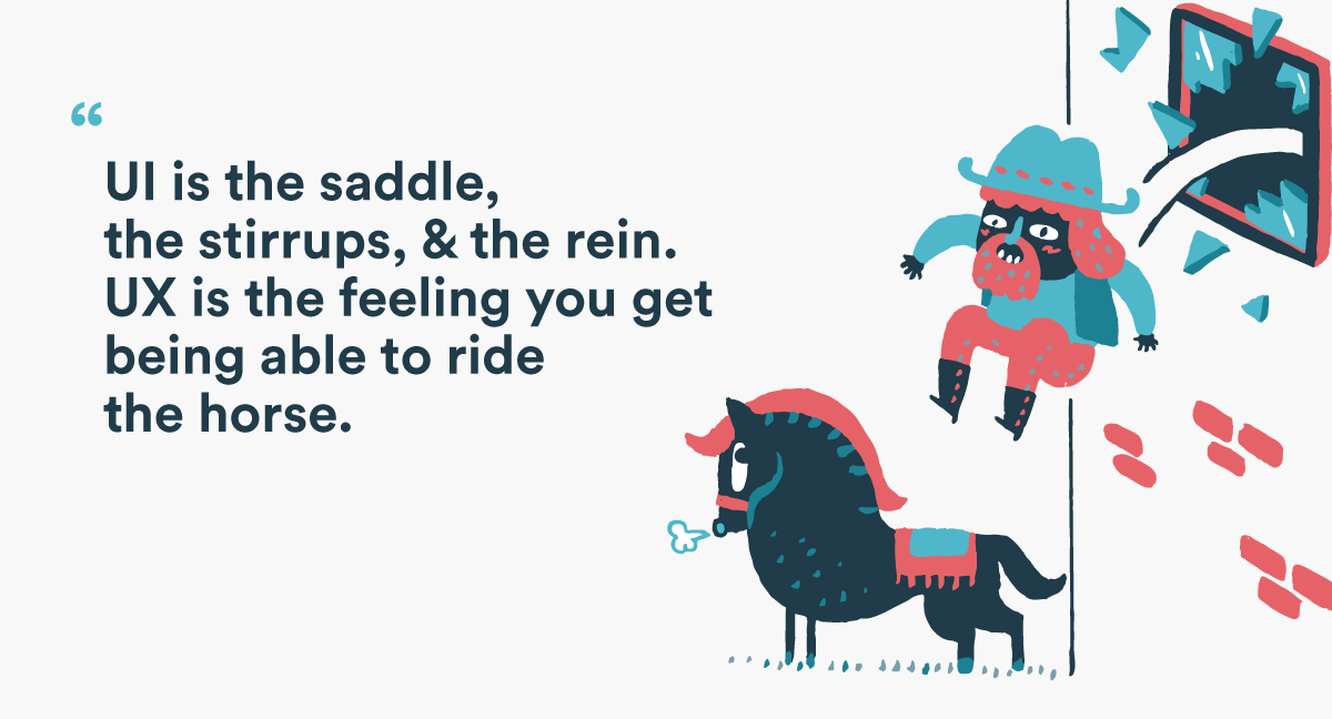 quote about ux with illustration of man jumping on horse