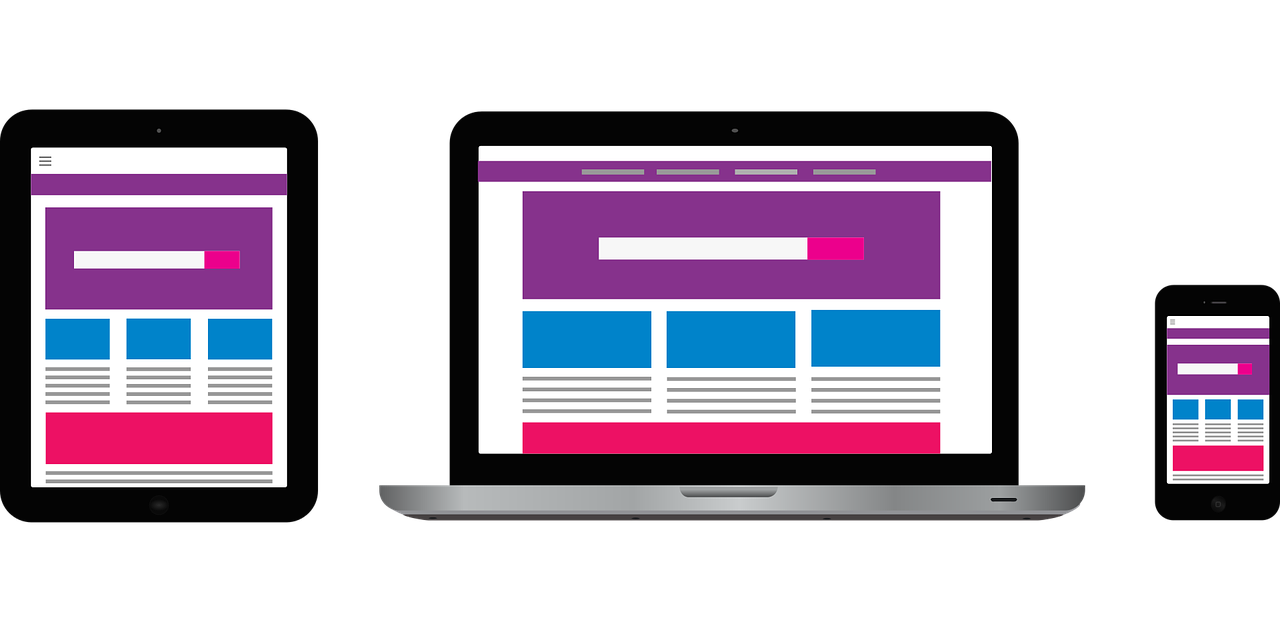 an illustration presenting site responsiveness on various screens