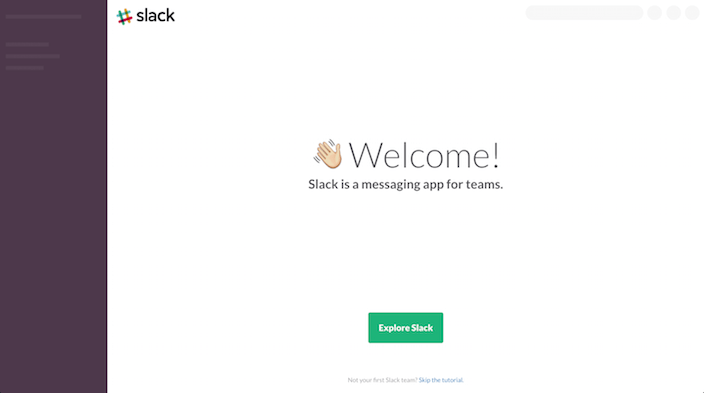 slack welcome screen and onboarding