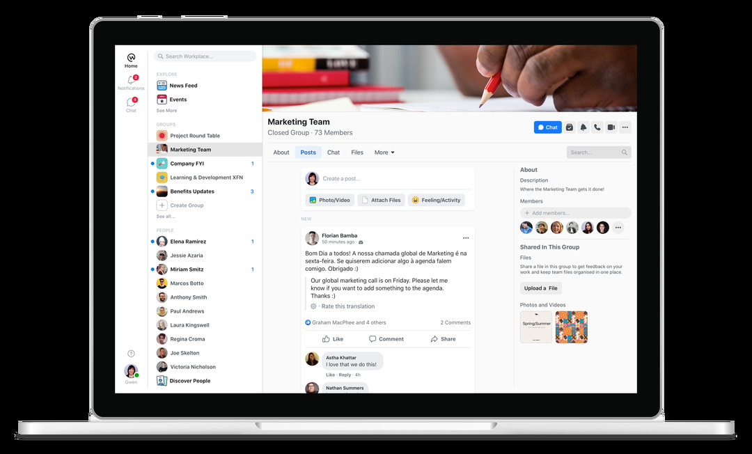 tablet showing workplace by facebook