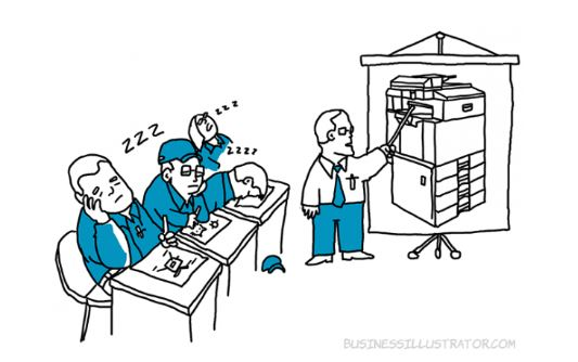 illustration of bored xerox employees learning tech skills