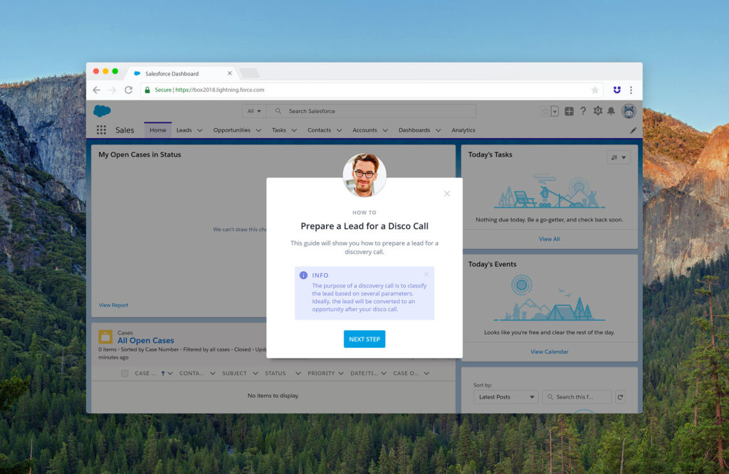 Userlane interactive guide for Salesforce demonstrating the welcome slide.